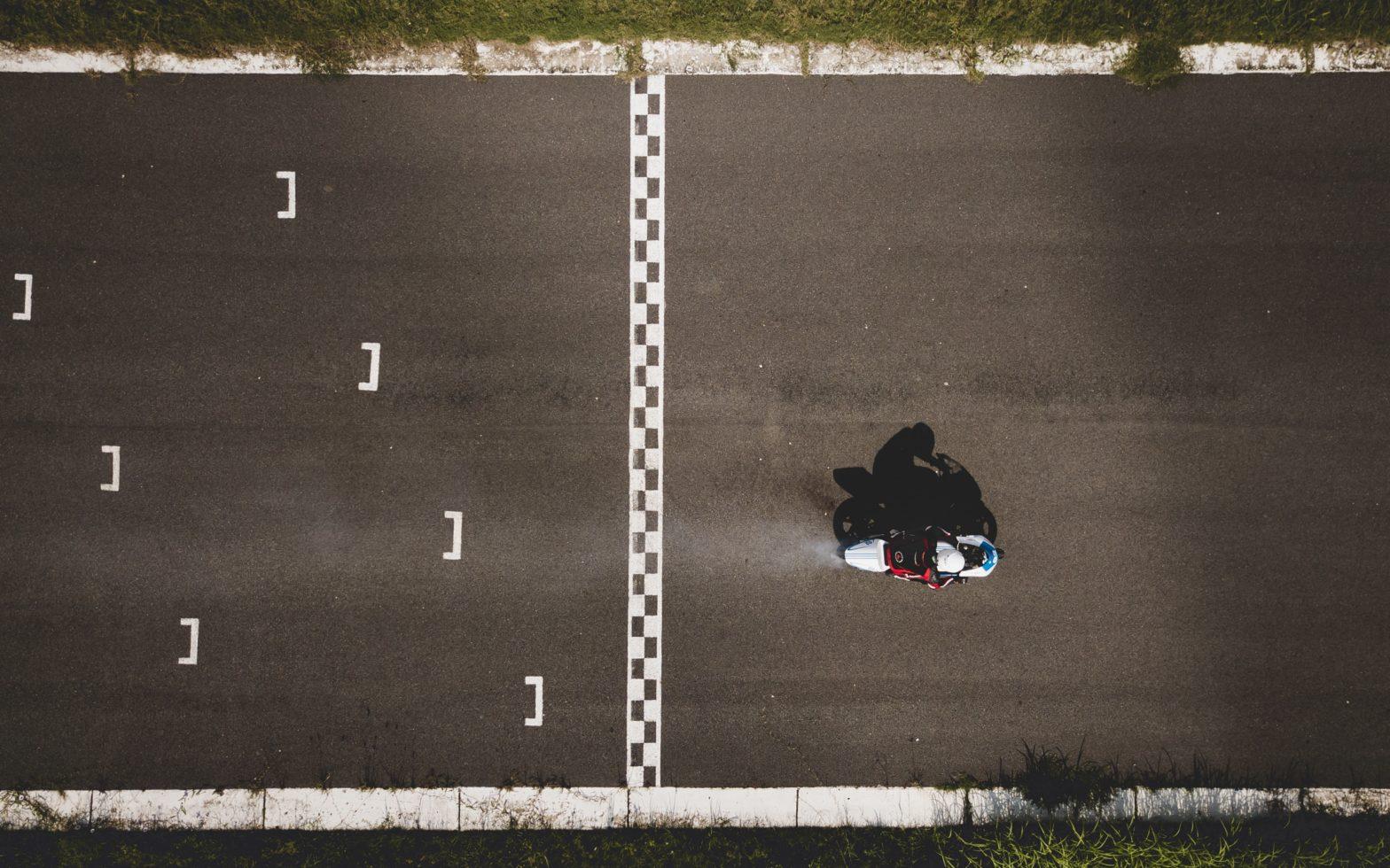 Finish line with motorbike